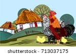 rooster with chicken and... | Shutterstock .eps vector #713037175