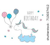 cute magical unicorn with... | Shutterstock .eps vector #713037412