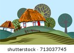 a nice rural landscape with... | Shutterstock .eps vector #713037745