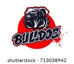 bulldog head logo  emblem on... | Shutterstock .eps vector #713038942