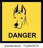 beware of dog sign  symbol ... | Shutterstock .eps vector #713042476