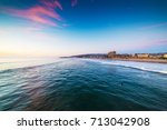 colorful sunset in pacific... | Shutterstock . vector #713042908