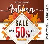autumn sale square banner... | Shutterstock .eps vector #713049376