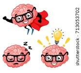 set of cute cartoon smart... | Shutterstock .eps vector #713053702