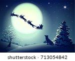 santa in night sky against... | Shutterstock .eps vector #713054842