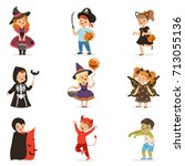 cute little kids in colorful... | Shutterstock .eps vector #713055136