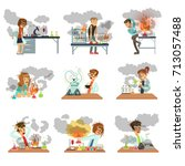 kid chemists characters looking ... | Shutterstock .eps vector #713057488