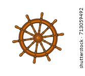 ship  sailboat steering wheel ... | Shutterstock .eps vector #713059492