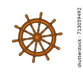 ship  sailboat steering wheel ... | Shutterstock .eps vector #713059492