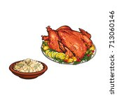 whole roasted turkey and bowl... | Shutterstock .eps vector #713060146