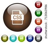 css file format white icons on... | Shutterstock .eps vector #713063986
