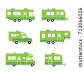 green auto rvs  camper cars  ... | Shutterstock .eps vector #713066026