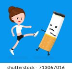 young angry sport fitness... | Shutterstock .eps vector #713067016