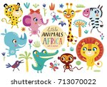 Stock vector cute african animals on a white background childish vector illustration of elephant lion giraffe 713070022