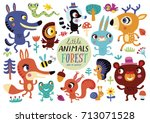 Stock vector cute forest animals on a white background childish vector illustration of rabbit fox deer wolf 713071528