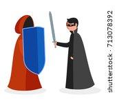 two warriors fighting  man in... | Shutterstock .eps vector #713078392