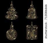 new year decoration. golden... | Shutterstock .eps vector #713086666