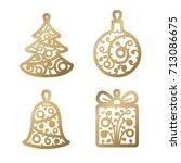 new year decoration. golden... | Shutterstock .eps vector #713086675
