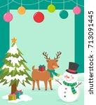 cute cartoon snowman and... | Shutterstock .eps vector #713091445