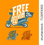 free delivery sign. delivery... | Shutterstock .eps vector #713093302