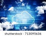 2d rendering cloud computing | Shutterstock . vector #713095636