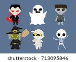 halloween cute cartoon set ... | Shutterstock .eps vector #713095846