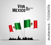 traditional mexican flags with... | Shutterstock .eps vector #713106556