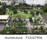 bird eyes view of public garden ... | Shutterstock . vector #713107906