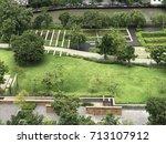 bird eyes view of public garden ...   Shutterstock . vector #713107912