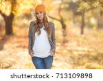young pregnant woman in casual... | Shutterstock . vector #713109898