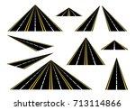 set straight roads and highways ... | Shutterstock .eps vector #713114866