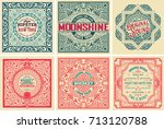 pack of 6 old cards and labels | Shutterstock .eps vector #713120788