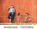 senior man with smartphone and... | Shutterstock . vector #713122816