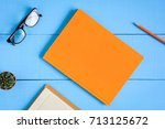 top view book mockup and pencil ... | Shutterstock . vector #713125672