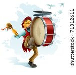 happy street musician playing... | Shutterstock .eps vector #71312611