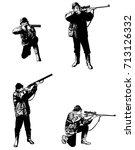 hunters sketch set  ... | Shutterstock .eps vector #713126332