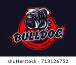 bulldog head logo  emblem on... | Shutterstock .eps vector #713126752