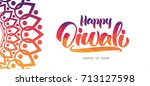 colorful indian greeting... | Shutterstock .eps vector #713127598