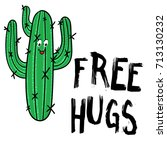 happy cactus with message free... | Shutterstock .eps vector #713130232