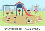 children at playground. happy... | Shutterstock .eps vector #713139652