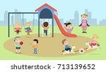 children at playground. happy... | Shutterstock .eps vector #713139652