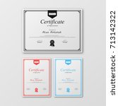 vector set of certificate... | Shutterstock .eps vector #713142322