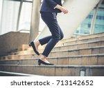 close up legs of businesswoman... | Shutterstock . vector #713142652