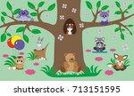beautiful children's room... | Shutterstock .eps vector #713151595