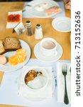 morning breakfast  muesli with... | Shutterstock . vector #713152636