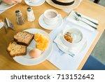 morning breakfast  muesli with... | Shutterstock . vector #713152642