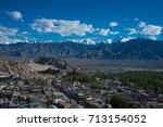 top view of leh city in cvalley ...   Shutterstock . vector #713154052