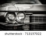 close up detail of restored... | Shutterstock . vector #713157022