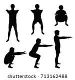 black vector silhouettes of... | Shutterstock .eps vector #713162488