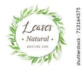 green leaves watercolor frame... | Shutterstock . vector #713164375